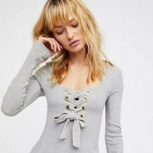 Free People Lace Up Top Size Medium NWT